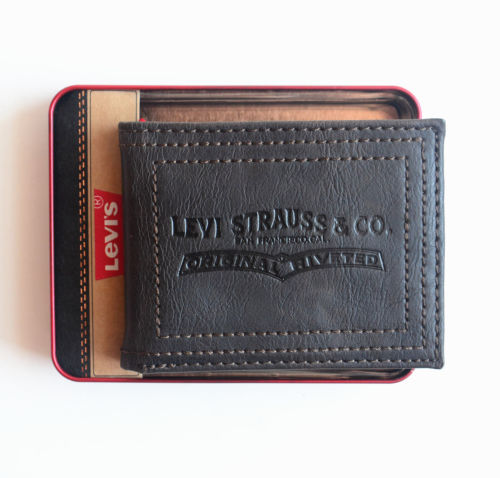 Men's Leather Wallet Bifold Black