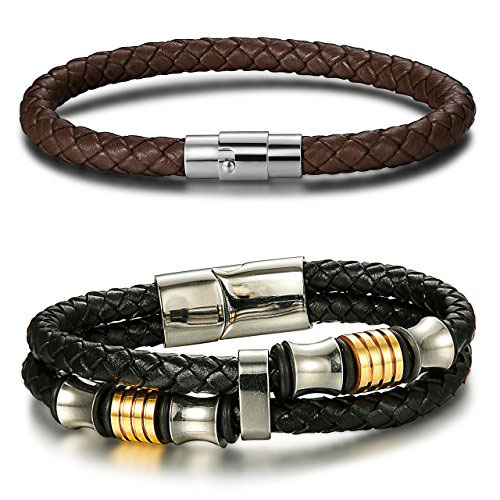 JOERICA Stainless Steel Leather Bracelets (Black/Brown)