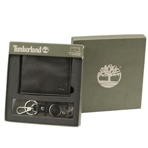 Men's Wallet & Keychain By Timberland (Black)