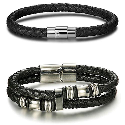 JOERICA Stainless Steel Leather Bracelets (Black)